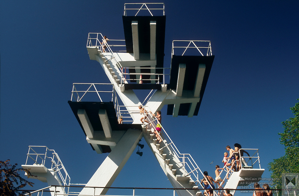 Bathers climb the diving platforms at Frogner Park swimming pool, Oslo, Norway..Media Usage:.Subject photograph(s) are copyrighted Edward McCain. All rights are reserved except those specifically granted by McCain Photography in writing...McCain Photography.211 S 4th Avenue.Tucson, AZ 85701-2103.(520) 623-1998.mobile: (520) 990-0999.fax: (520) 623-1190.http://www.mccainphoto.com.edward@mccainphoto.com