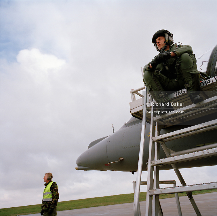 Ground technicians at RAF Wittering, the base for the Harrier.