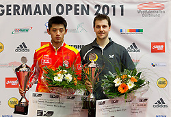 27.02.2011, Westfalenhalle Dortmund, GER, Tischtennis, German Open, im Bild Sieger Zhang Jike (CHN) links mit dem Zweiten Timo Boll (GER), EXPA Pictures © 2011, PhotoCredit: EXPA/ A. Neis