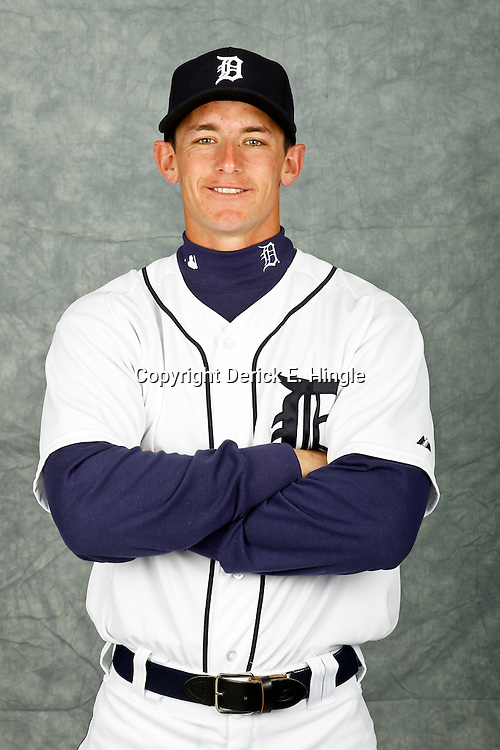 February 28, 2012; Lakeland, FL, USA; Detroit Tigers catcher Rob Brantly (71) poses for photo day in the rec room at the Detroit Tigers Headquarters.  Mandatory Credit: Derick E. Hingle-US PRESSWIRE