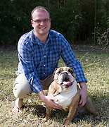 Justin Rushing and his Bulldog, George, at the White Rock Lake Dog Park on Sunday, February 3, 2013 in Dallas, Texas. (Cooper Neill/The Dallas Morning News)