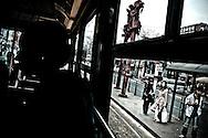 Street car commuters at Spadina Avenue, Toronto, Canada