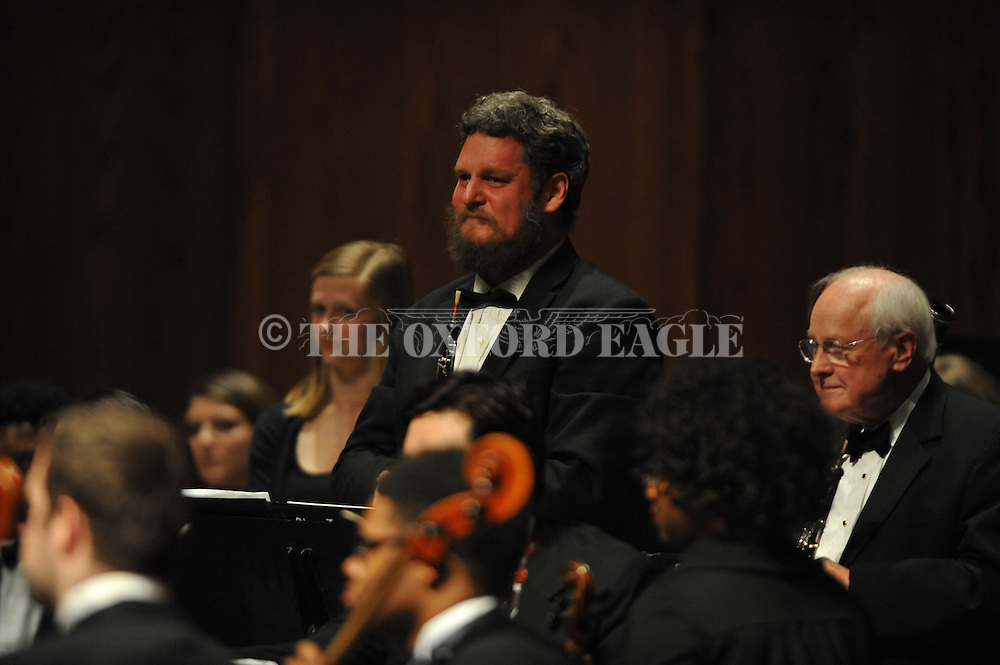 Andrew Gordon plays the oboe as the LOU Symphony plays at the Ford Center in Oxford, Miss. on Monday, February 9, 2015.