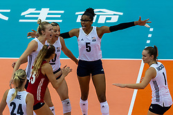 14-10-2018 JPN: World Championship Volleyball Women day 15, Nagoya<br /> China - United States of America 3-2 / Jordan Larson #10 of USA, Rachael Adams #5 of USA, Micha Hancock #1 of USA
