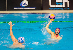 Ante Vukicevic of Primorje vs Emmanouil Mylonakis of Olympiacos during water polo match between Primorje Erste Bank (CRO) and Olympiacos Piraeus (GRE) in 8th Round of Champions League 2016, on April 16, 2016 in Kantrida pool, Rijeka, Croatia. Photo by Vid Ponikvar / Sportida