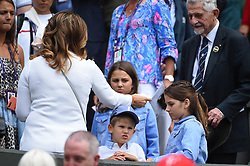 Mirka Federer and children in the stands watching Roger Federer (SWI) during his first round match at the 2019 Wimbledon Championships at the AELTC in London, UK on July 2, 2019. Photo by Corinne Dubreuil/ABACAPRESS.COM