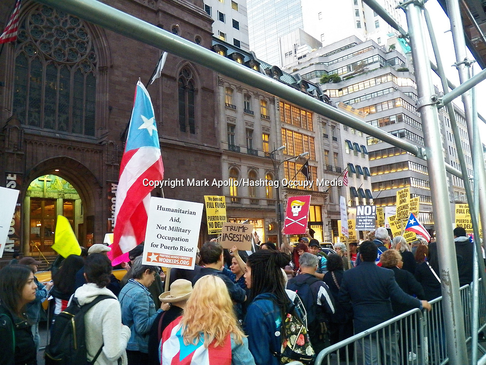 Puerto Rico Protest at Trump Towers NYC. around 200 people attended the rally and protest, calling on Trump and Federal Government to provide aid, and stop interfering in aid assistance from other country's and organizations.