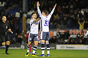 Bury Forward, Caolan Lavery (32) gotal scorer and Bury Forward, Dom Telford (18) celebrate 2-0 during the EFL Sky Bet League 2 match between Bury and Tranmere Rovers at the JD Stadium, Bury, England on 22 December 2018.