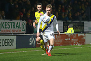 Mark Sykes of Oxford United (18) gets past Jamie Murphy of Burton Albion (29) during the EFL Sky Bet League 1 match between Burton Albion and Oxford United at the Pirelli Stadium, Burton upon Trent, England on 11 February 2020.