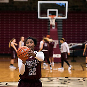 December 16, 2016 - New York, NY : Danielle Burns, a senior guard/forward for the Fordham University Women's Basketball Team, practices with the team in Rose Hill Gymnasium on Friday. CREDIT: Karsten Moran for The New York Times