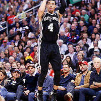 18 February 2014: San Antonio Spurs shooting guard Danny Green (4) takes a jumpshot during the San Antonio Spurs 113-103 victory over the Los Angeles Clippers at the Staples Center, Los Angeles, California, USA.