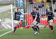 17th February 2018, Firhill Stadium, Glasgow, Scotland; Scottish Premier League Football, Partick Thistle versus Dundee; Simon Murray of Dundee celebrates after scoring a last minute winner for 2-1