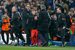 Paris Saint-Germain Manager Laurent Blanc shakes hands with Chelsea Manager Jose Mourinho at full time after Chelsea are knocked out on away goals - Photo mandatory by-line: Rogan Thomson/JMP - 07966 386802 - 11/03/2015 - SPORT - FOOTBALL - London, England - Stamford Bridge - Chelsea v Paris Saint-Germain - UEFA Champions League Round of 16 Second Leg.