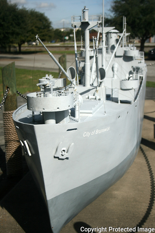 A large model of a Navy Destroyer, City of Brunswick, in the Brunswick port park commons. Brunswick Georgia.