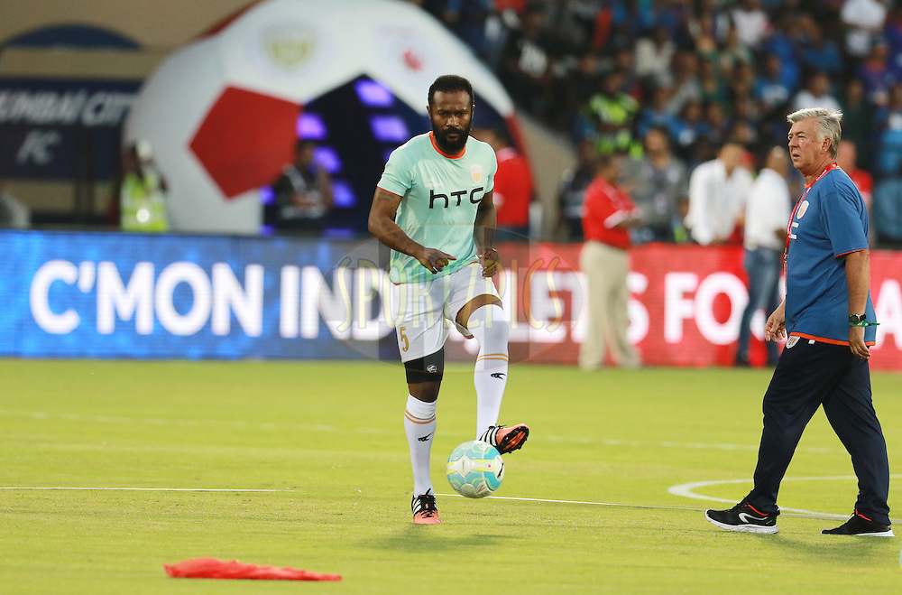 Didier Zokora of NorthEast United FC  before the start of the match 7 of the Indian Super League (ISL) season 3 between Mumbai City FC and NorthEast United FC held at the Mumbai Football Arena in Mumbai, India on the 7th October 2016.<br /> <br /> Photo by Vipin Pawar / ISL/ SPORTZPICS