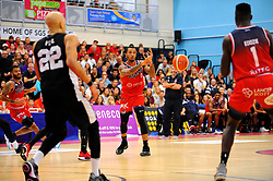 Gentry Thomas of Bristol Flyers looks fo a pass - Photo mandatory by-line: Nizaam Jones/JMP - 19/10/2019 - BASKETBALL - SGS Wise Arena - Bristol, England - Bristol Flyers v London Lions - British Basketball League Cup