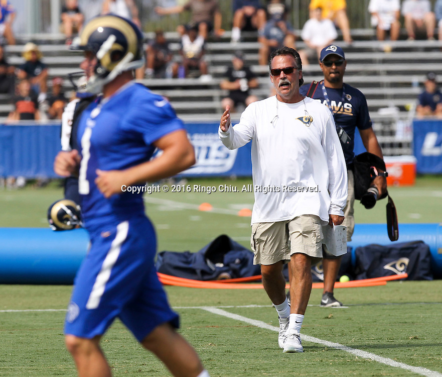 Rams coach Jeff Fisher in Los Angeles Rams training session at UC Irvine campus.(Photo by Ringo Chiu/PHOTOFORMULA.com)<br /> <br /> Usage Notes: This content is intended for editorial use only. For other uses, additional clearances may be required.
