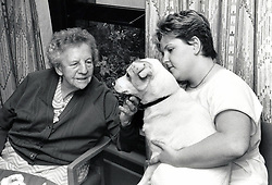 Carer & elderly woman, Nottingham UK 1987