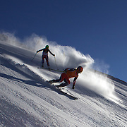 Kelly Gallagher, Great Britain, (left) with guide Charlotte Evans in action during the Women Giant Slalom Visually Impaired competition at Coronet Peak, during the Winter Games. Queenstown, New Zealand, 23rd August 2011. Photo Tim Clayton..