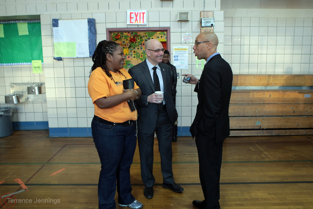 New York, NY- January 16: l to r: NYC Chief Service Officer Diahnn Billings-Burford, FDNY Fire Commissioner Salvatore Cassano, and NYC Schools Chancellor Dennis Walcott at the New York City Service Program in Honor of Martin Luther King Jr. Day held at the Mirabel Sisters Campus in West Harlem, New York City.  Photo Credit: Terrence Jennings