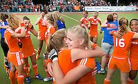 WATERLOO (Belgie) - Vreugde bij o.a.  Lisanne de Lange (m) na de EK finale hockey -21 tussen de vrouwen van Nederland en Duitsland (2-0). FOTO KOEN SUYK