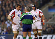 2005 Rugby, Investec Challenge, England vs New Zealand,  Martin Corry [left] and Danny Grewcock, are spoken to by referee XXX for a infringment by Danny Crewcock, RFU Twickenham, ENGLAND:     19.11.2005   © Peter Spurrier/Intersport Images - email images@intersport-images..
