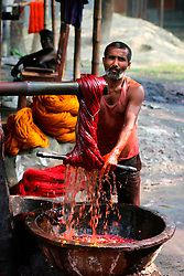 BANGLADESH SIRAJGANJ RADHUNIBARI 30JAN07 - Labourer dyes cotton yarn. Records of an indigenous weaving industry based on handlooms producing cotton fabrics date back to the 13th century in this area...jre/Photo by Jiri Rezac..© Jiri Rezac 2007..Contact: +44 (0) 7050 110 417.Mobile:  +44 (0) 7801 337 683.Office:  +44 (0) 20 8968 9635..Email:   jiri@jirirezac.com.Web:    www.jirirezac.com..© All images Jiri Rezac 2007 - All rights reserved.