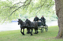 WINDSOR-  UK -  12th May 2017: HRH The Duke of Edinburgh at the reigns of his carriage  visits the Royal Windsor Horse Show held in the grounds of Windsor Castle in Berkshire. The Queen was also present watching the pony classes in which she had entries.<br />  Photo by Ian Jones