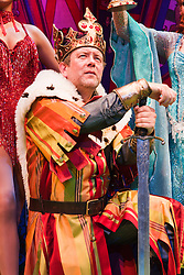 "© Licensed to London News Pictures. 26/07/2012. London, England. Jon Culshaw as King Arthur. Monty Python's ""Spamalot"" musical based on the film ""Monty Python and the Holy Grail"" opens at the Harold Pinter Theatre in London. The role of King Arthur is shared between Jon Culshaw and Marcus Brigstocke. Photo credit: Bettina Strenske/LNP"