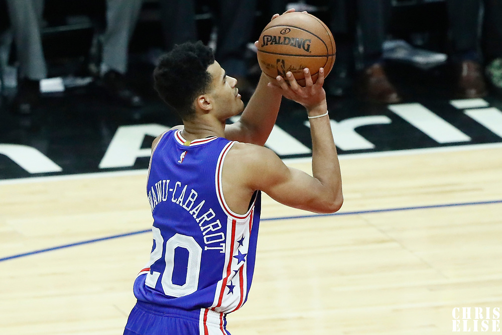 11 March 2017: Philadelphia 76ers guard Timothe Luwawu-Cabarrot (20) is seen at the free throw line during the LA Clippers 112-100 victory over the Philadelphia Sixers, at the Staples Center, Los Angeles, California, USA.