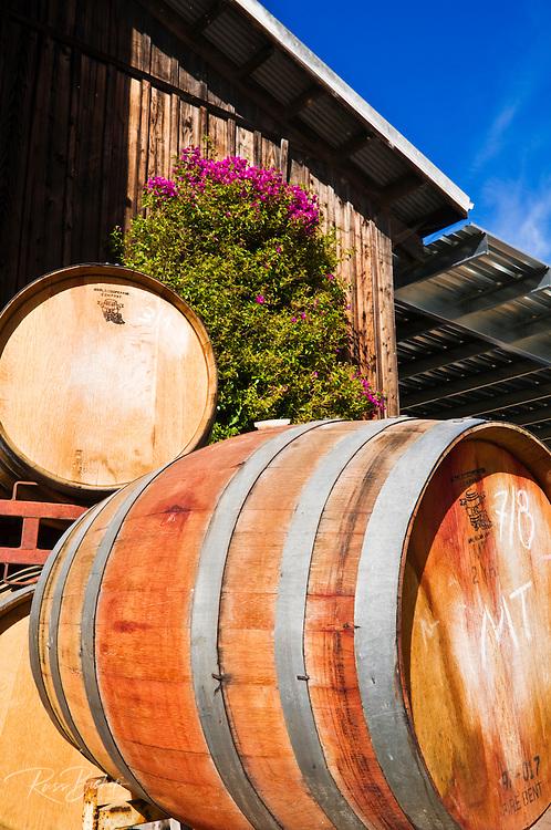 Oak wine barrels at Harmony Cellars, Harmony, California