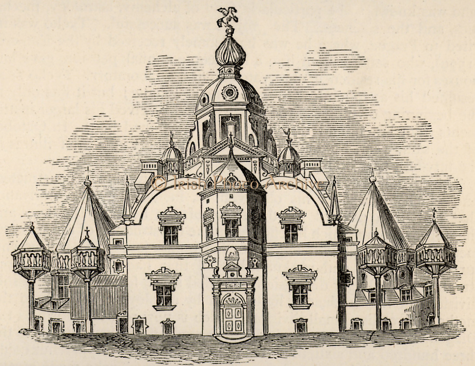 Uraniborg, Tycho's observatory on the island of Hven, Denmark. Tycho Brahe (Tyge Ottesen Brahe - 1546-1601) Danish astronomer, astrologer and alchemist  who built astronomical instruments which enabled him to make the most accurate observations of his time.   Engraving, c1881.