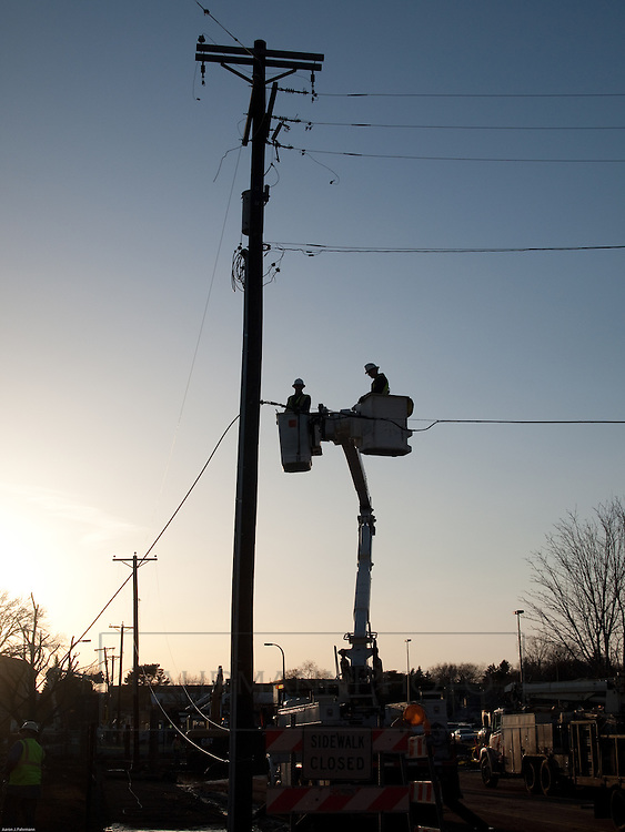 Power line repair work was underway the evening of the same day as the natural gas incident