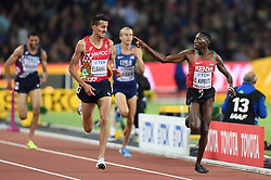 August 8, 2017 - London, England, United Kingdom - Conseslus KIPRUTO, Kenya, in front of Soufiane ELBAKKALI, Marocco, during 3000 meter steeple chase finals in London at the 2017 IAAF World Championships athletics on August 8, 2017  (Credit Image: © Ulrik Pedersen/NurPhoto via ZUMA Press)