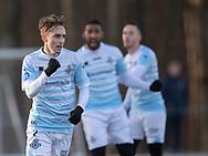 FODBOLD: Lucas Haren (FC Helsingør) jubler efter scoringen til 1-0 under træningskampen mellem FC Helsingør og AB den 19. januar 2019 på Snekkersten Idrætscenter. Foto: Claus Birch