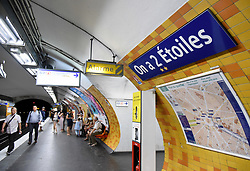 Charles de Gaulle - Etoile metro station at the top of the Champs Elysées on line 2 has been named 'On a 2 Etoiles' (We have 2 stars) in reference to the fact that France has now won the World Cup twice and their shirts can now bear two stars instead of just one. Paris transport authorities RATP have decided to hail the victorious Les Bleus in their own way. After the cup final win workers were busy putting up new names of Metro stations in honour of France's victory. Some six stations have been given new names, although it is not clear how long they will last, with some of them honouring the players and the manager behind the stunning victory. Paris, France, July 17, 2018. Photo by Alain Apaydin/ABACAPRESS.COM