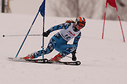 First overall in the girls giant slalom individual competition, Katherine Rowley of Charlevoix/East Jordan makes her second of two giant slalom runs at Boyne Highlands Resort in Harbor Springs at the Division 2 State Ski Finals.