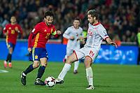 Spain's David Silva Macedonia's Darko Velkovski  during the match of European qualifying round between Spain and Macedonia at Nuevo Los Carmenes Stadium in Granada, Spain. November 12, 2016. (ALTERPHOTOS/Rodrigo Jimenez)