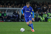 AFC Wimbledon midfielder Max Sanders (23) about to pass the ball during the EFL Sky Bet League 1 match between AFC Wimbledon and Gillingham at the Cherry Red Records Stadium, Kingston, England on 23 November 2019.