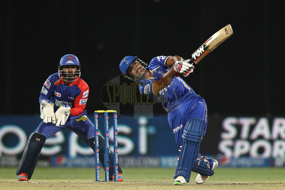 Rajat Bhatia of the Rajasthan Royals hits over the top during match 23 of the Pepsi Indian Premier League Season 2014 between the Delhi Daredevils and the Rajasthan Royals held at the Feroze Shah Kotla cricket stadium, Delhi, India on the 3rd May  2014<br /> <br /> Photo by Shaun Roy / IPL / SPORTZPICS<br /> <br /> <br /> <br /> Image use subject to terms and conditions which can be found here:  http://sportzpics.photoshelter.com/gallery/Pepsi-IPL-Image-terms-and-conditions/G00004VW1IVJ.gB0/C0000TScjhBM6ikg
