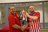 Jake Eadie from the SFA (left) presents Wallcell's captain Steven Malin with the Scottish Futsal Cup - Wattcell Futsal Club (red and white) v TMT Futsal Club (yellow) in the Scottish Futsal Cup Final at Perth College, Perth, Photo: David Young<br /> <br />  - &copy; David Young - www.davidyoungphoto.co.uk - email: davidyoungphoto@gmail.com