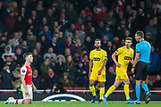Kieran Tierney (Arsenal) pleased with Sandro Scharer (Referee) during the Europa League match between Arsenal and Standard Liege at the Emirates Stadium, London, England on 3 October 2019.