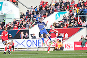 Cardiff City midfielder, Joe Ralls (8) heads clear during the Sky Bet Championship match between Bristol City and Cardiff City at Ashton Gate, Bristol, England on 5 March 2016. Photo by Shane Healey.