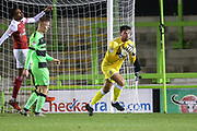 Forest Green Rovers goalkeeper James Montgomery collects the ball during the EFL Trophy group stage match between Forest Green Rovers and U21 Arsenal at the New Lawn, Forest Green, United Kingdom on 7 November 2018.