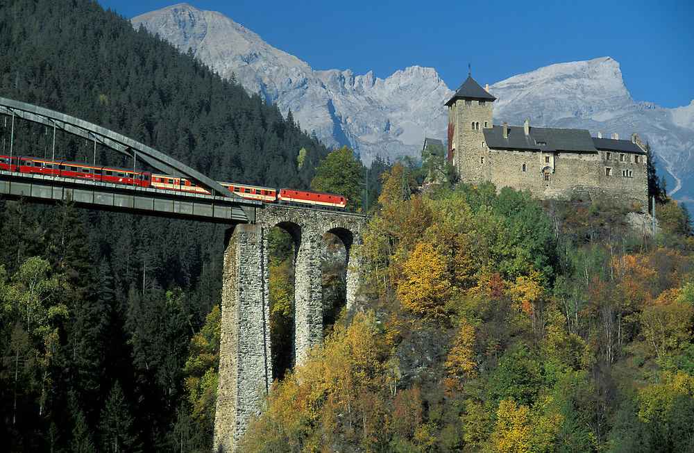 Schloss Wiesberg and train near Landeck, Tirol, Austria