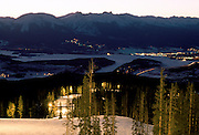 Gore Range, Lake Dillon and Silverthorne from Keystone night skiing