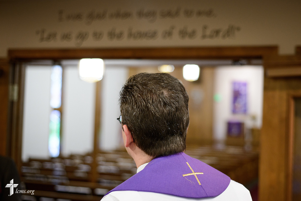 The Rev. Mark Nierman, pastor of Mount Olive Lutheran Church, waits for the start of Lenten worship on Wednesday, March 2, 2016, in Loveland, Colo. LCMS Communications/Erik M. Lunsford