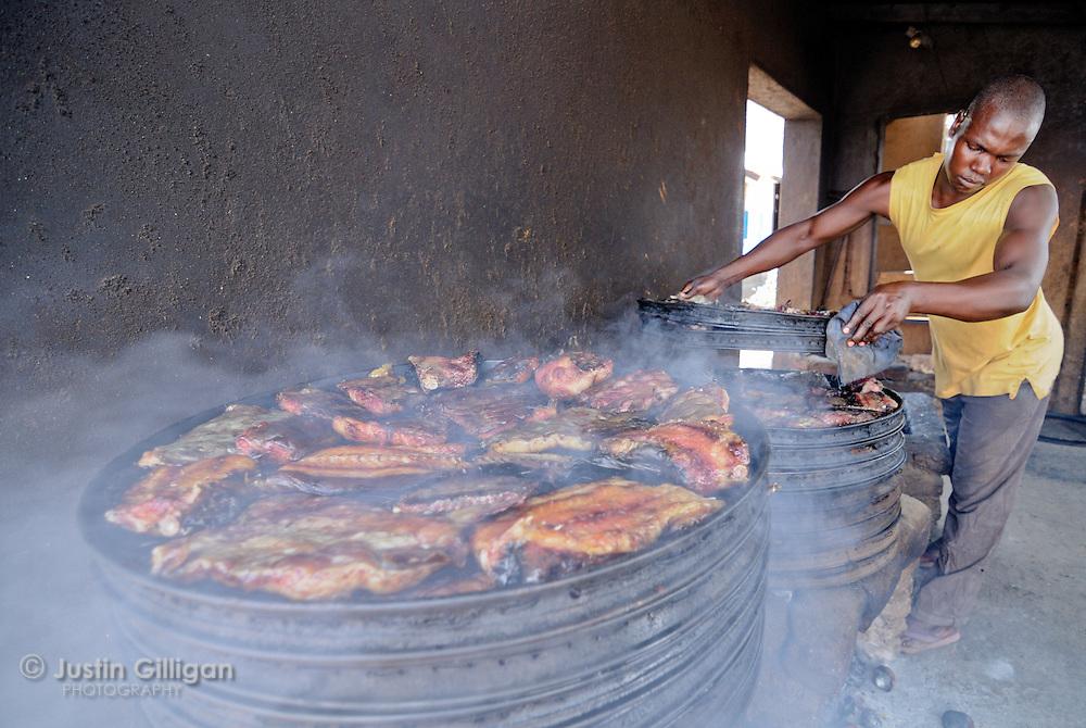 Smoking kiln at Maldeco commercial fisheries, Lake Malawi, Malawi.