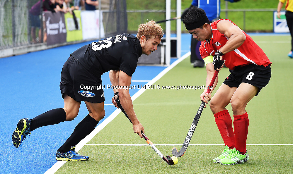 Shay Neal. Black Sticks Men vs Korea test match series, Lloyd Elsmore Hockey Stadium, Auckland, New Zealand. Saturday 19 March 2016. Photo: Andrew Coranga / www.photosport.nz