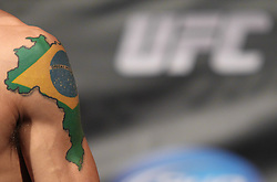 Fairfax, VA - May 14, 2012: Tattoo of Brazil during the UFC on FUEL TV 3 weigh-in at the Patriot Center in Fairfax, Virginia.